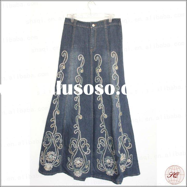 maxi style womens beautiful embroidered long jean skirts