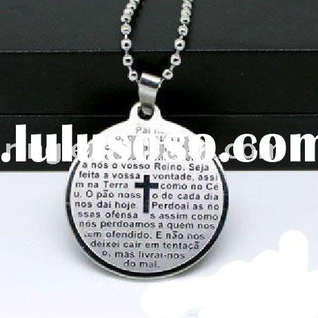 Mens Cross Bible Scripture Necklace Round Pendant