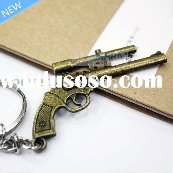 Mini Gun Shaped Metal Key Chain