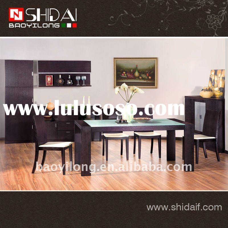 Modern dining room rectangle glass top dining table and leather chair A-16