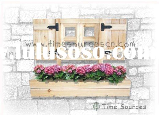 Outdoor wooden flower pot , window frame with flower pot ,