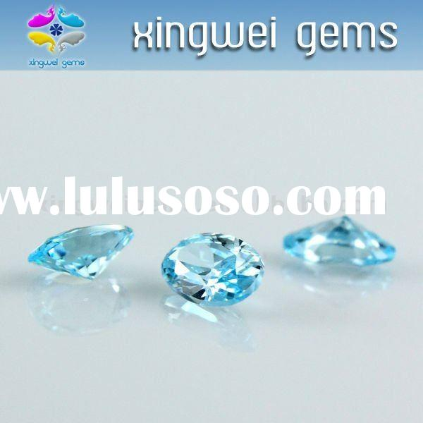 Oval cut sea blue zircon gems
