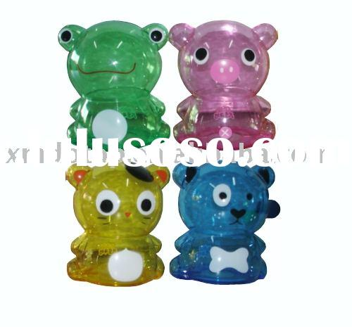Plastic coin bank in animal shape