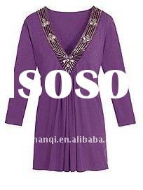 Purple new design cotton spandex lady clothes