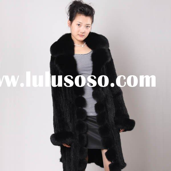 QD2050 Women's Mink Fur Coat With Fox Trim