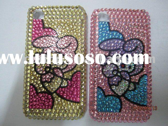 Rabbit Diamond crystal hard case back cover for iphone 4 4G
