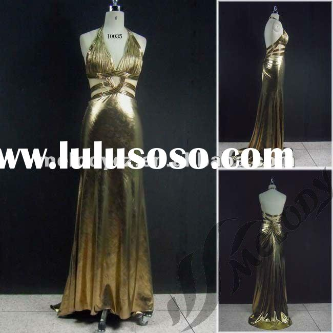 Shinning elastic satin long halter prom evening dresses made in China