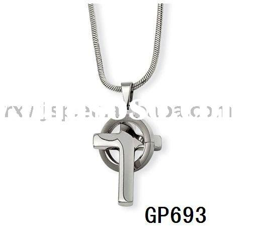 Stainless Steel Cross In Circle Necklace Pendant