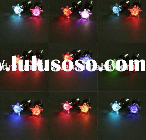 Star Shaped Multi-Coloured Color LED Earrings Pink