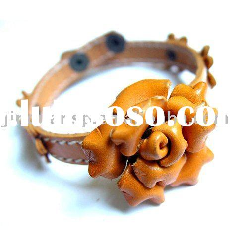 Tan Rose Genuine Leather Flower Bracelet
