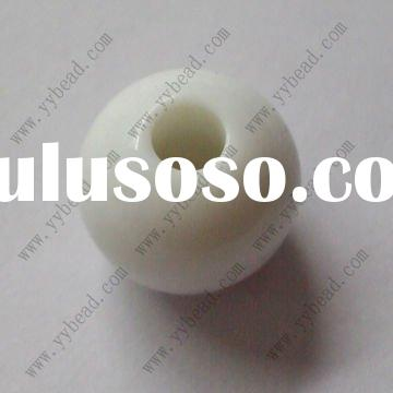 White solid color large hole round acrylic beads