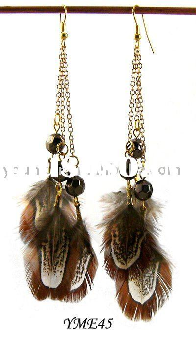 chain and bead feather Hipster earings,Cheap Feather Earrings
