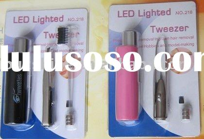 cosmetic tweezer with led and mirror,led light,stainless steel tweezer for promotional gifts