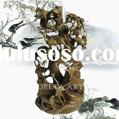 crane and plant WOOD CARVING STATUE