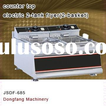 electric double fryer, counter top electric 2 tank fryer(2-basket)
