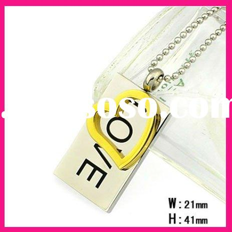 fashion stainless steel letter love heart pendant necklaces with ball chain