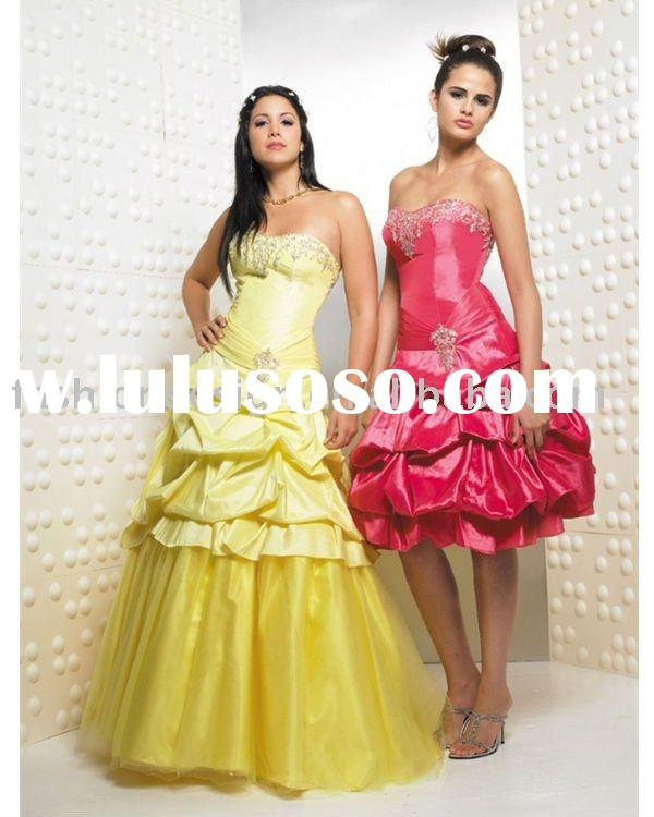 formal satin yellow beaded Quinceanera Ball gowns,bridesmaid prom dresses QB013