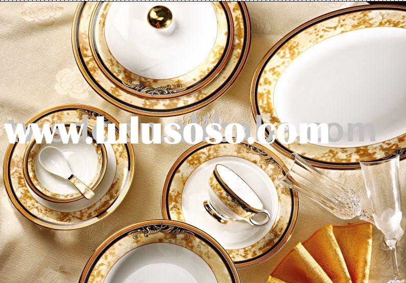 luxury fine porcelain bone china royal dinner set with decals
