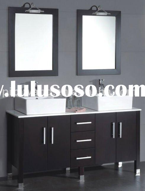 modern solid wood floor standing double mirror double basin bathroom vanity base cabinet,solid wood