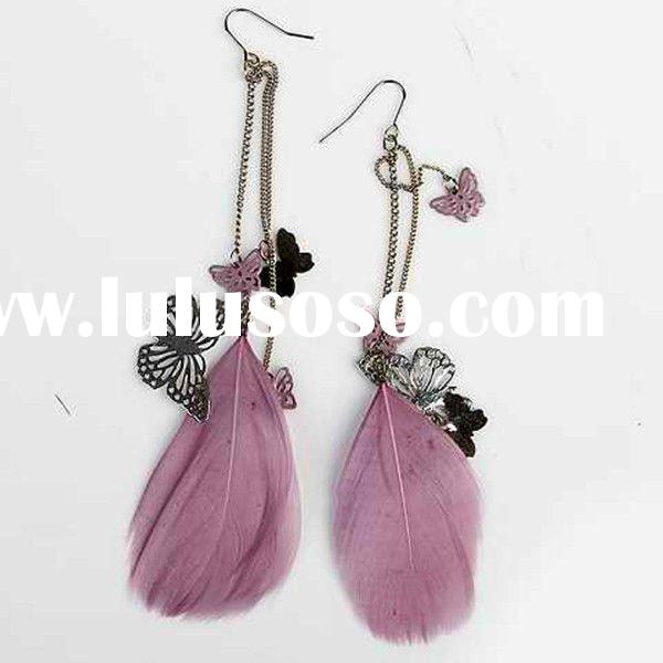 new fashion jewelry feather earring, voilet feathers chain earring with metal butterfly