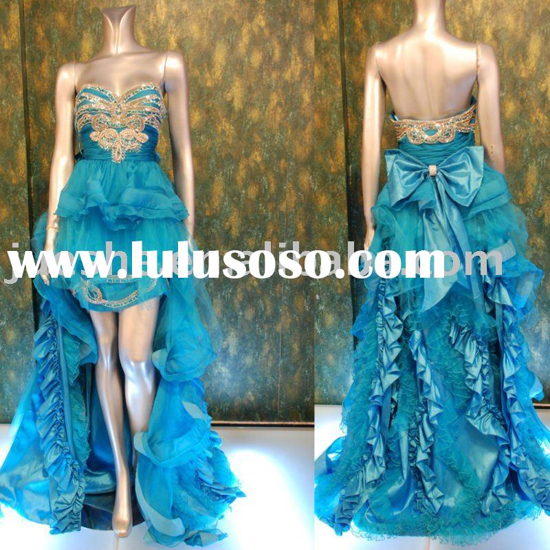 strapless front short long train middle east arabic evening gowns 2012