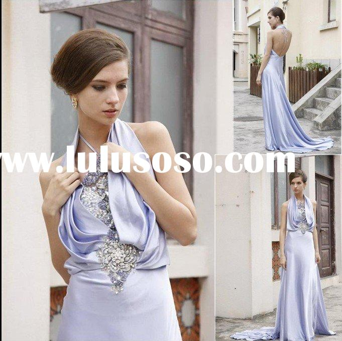 unique design silver elastic satin evening dress ED-337