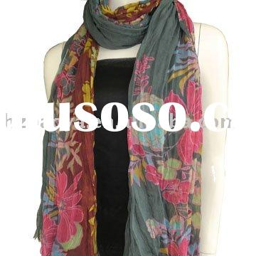 voile scarf with floral pattern