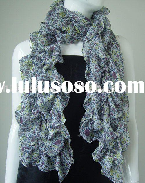 voile scarf with small flower pattern