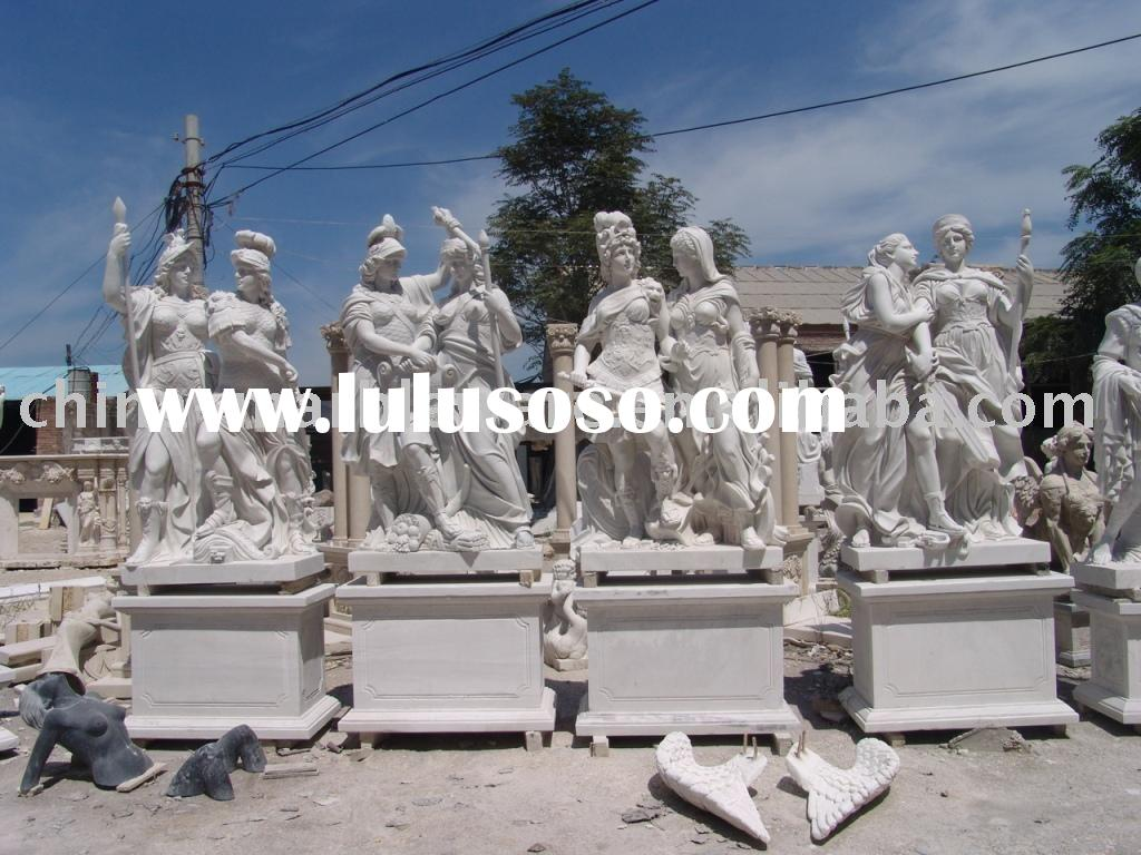 white marble statue of woman soldier