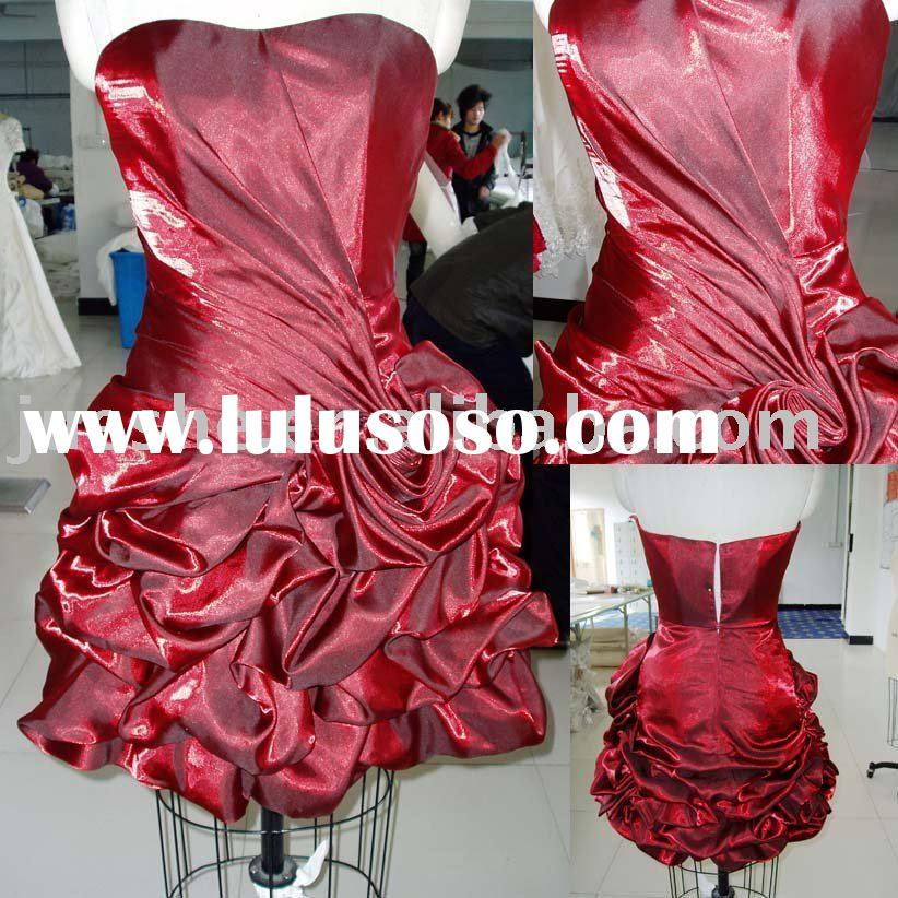 wholesale real sample strapless pickup taffeta party dress