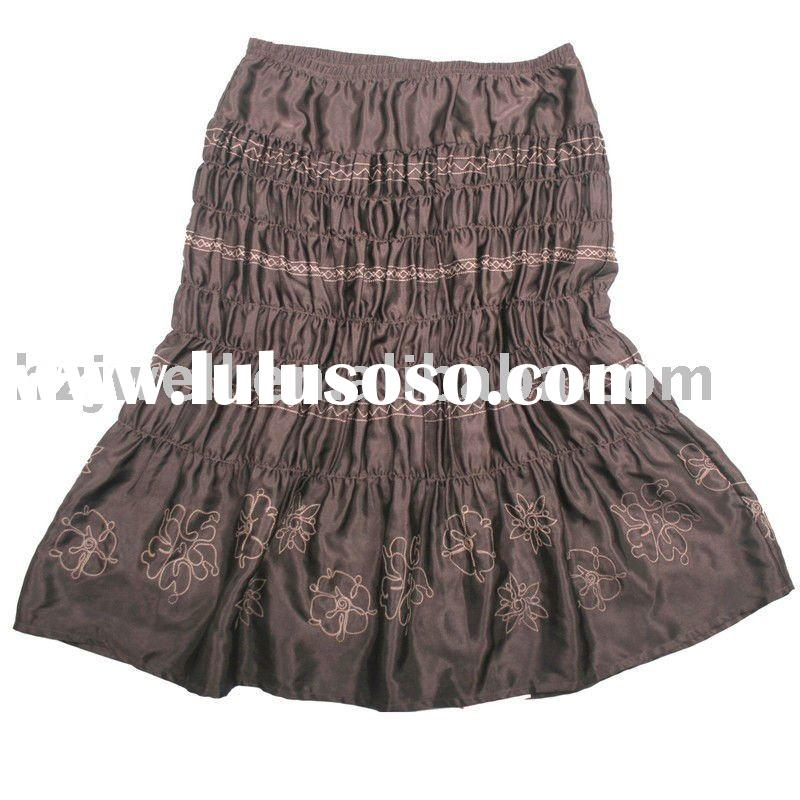 women fashion satin embroidery with elastic plus size flare skirt
