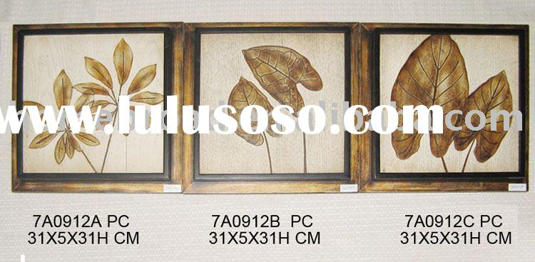 wooden carved leaf wall art