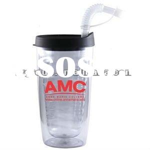 16oz Double Wall Tumbler with lid and straw