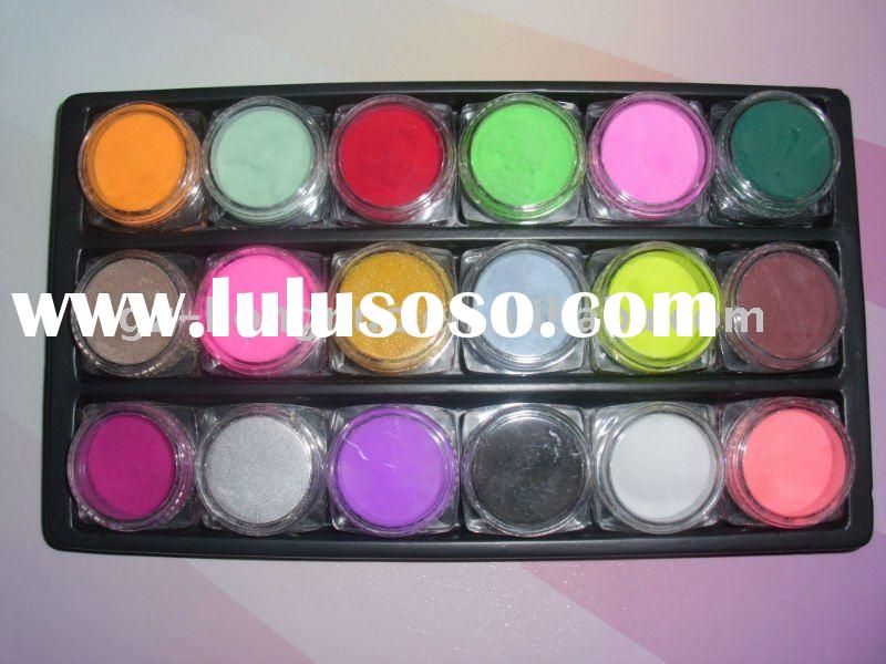 18 Color Acrylic Powder Nail Art Paint False Tips