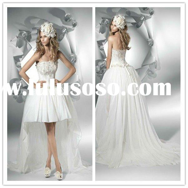 2011 New Cheap Strapless Bridal Gowns Taffeta Beaded front short and long back wedding dress