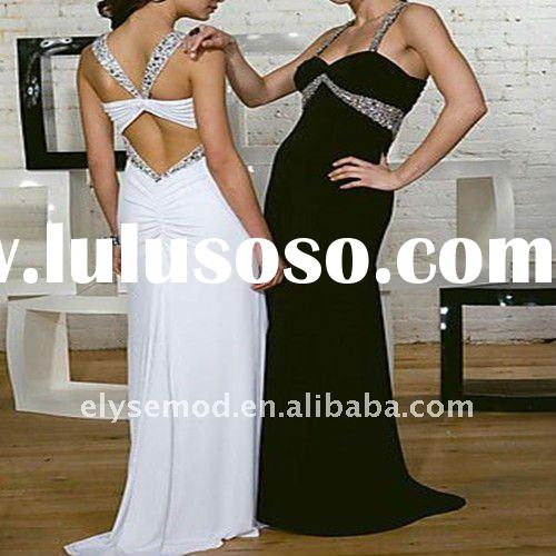2011 Newly Designed Backless Elastic Satin Straps Prom Dress for Sale