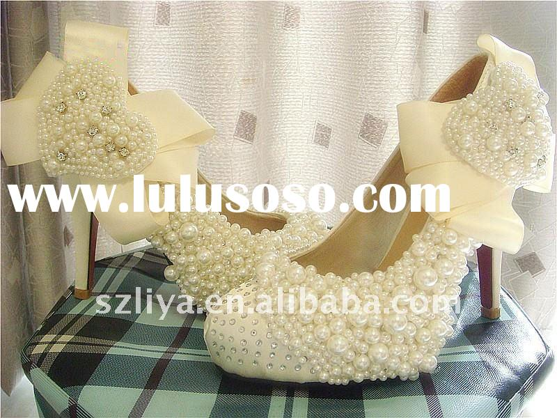 2011 handmade distinctive white pearls bridal shoes with heart shape wedding shoes evening shoes XZ0