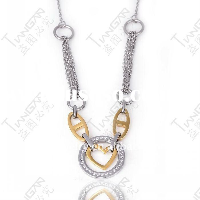 2011 new hot sale fashion gift girl&woman 316lstainless steel costume vintage gold heart jewelry