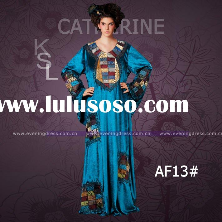 2012 Fashion neck line abaya kaftan cafta arab jalabiya dubai fashion ANJ1532(AF13#)