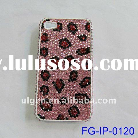2012 newest lovely design leopard stripe resin crystal rhinestone housing cover accesories