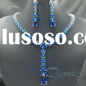 212x5~20mm Royal Blue Created Sapphire Necklace Earrings Bridal Jewelry Set