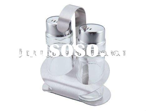 2 Bottles condiment set with holder
