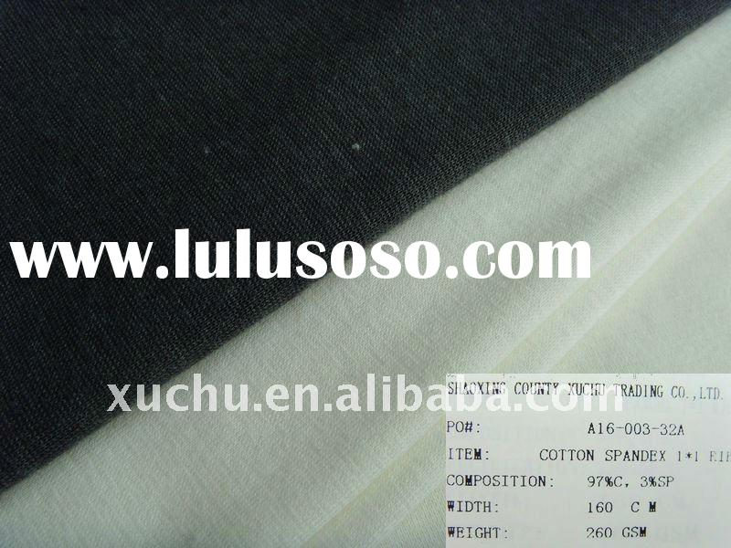 97%cotton 3%spandex 1x1 cotton rib knit fabric