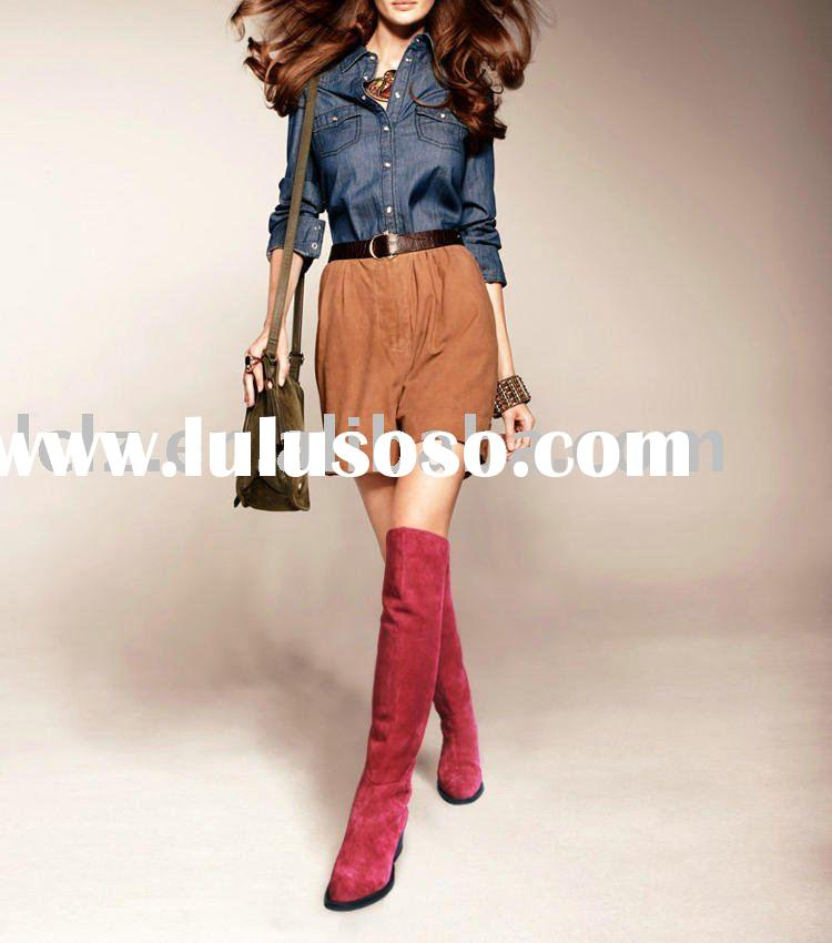 A025 Over knee high boots red flat boots
