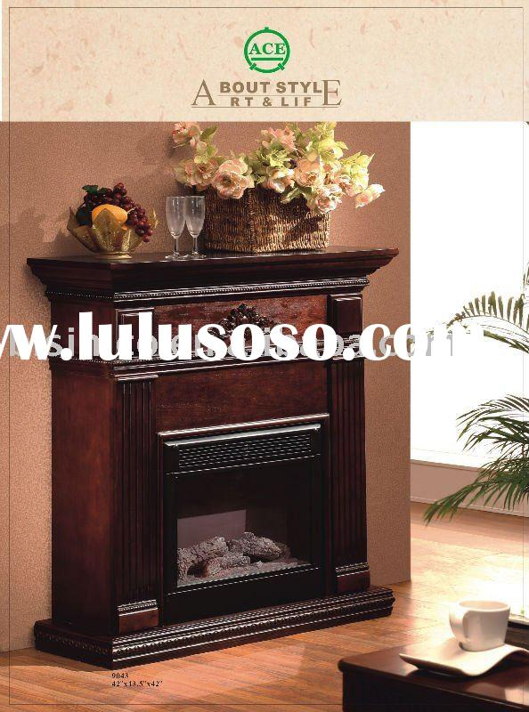 American solid wood mantel/fireplace,electric insert,antique furniture