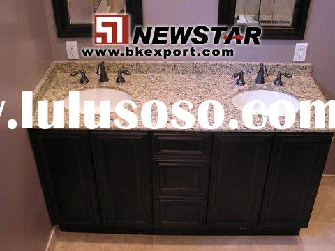 Bathroom Cabinets with Granite Vanity Tops and Undermount Ceramic Sinks