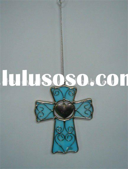 Beautiful Stained Glass Blue Cross Hanging Ornament