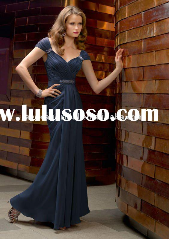 Cap sleeve navy blue chiffon sheath Mother of the bride dress 70402
