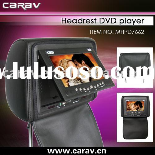 "Car DVD - 7"" Headrest Pillow DVD player Head Rest DVD wireless game,USB/SD,FM,Zipper cover/TV o"