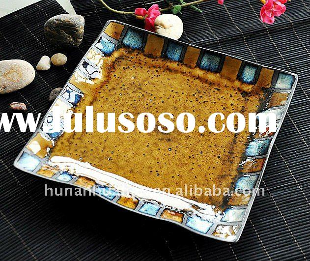 Ceramic crackle glazed square plate with very beautiful precious stone design for gift